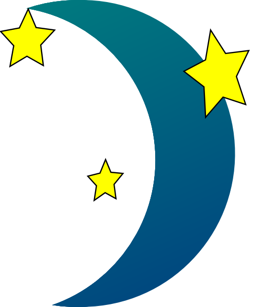Blue Moon and Stars Clipart.