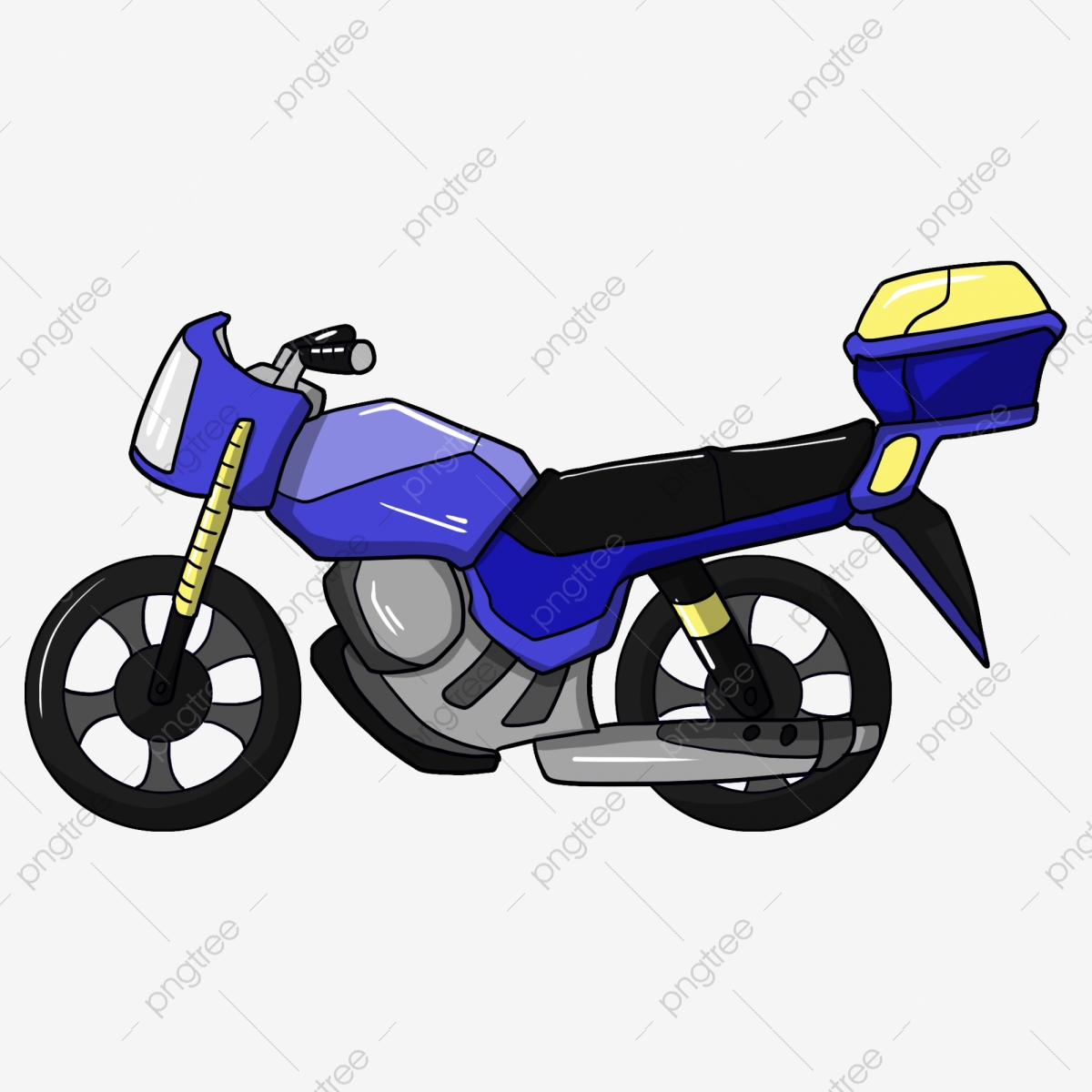Blue Blue Motorcycle Motorcycle Hand Drawn Motorcycle, Motorcycle.