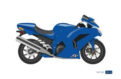Blue Motorcycle In Realistic Style. Side View. Detailed Image Of.