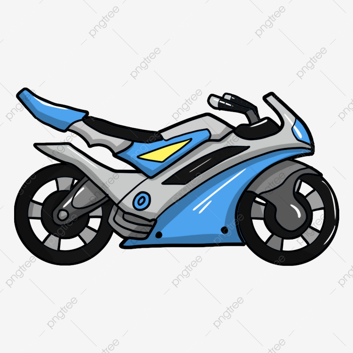 Blue Blue Motorcycle Hand Drawn Motorcycle Motorcycle Illustration.