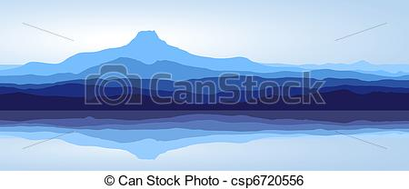 Clip Art Vector of Blue mountains with lake.