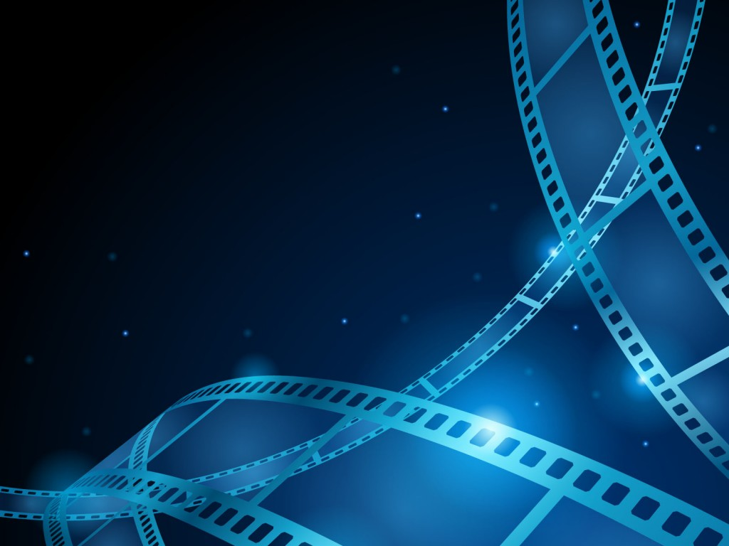 Blue movie, film strip PPT Backgrounds.