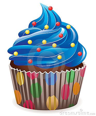 Illustration of blue cupcake with sprinkles.