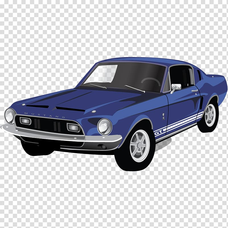 Blue Ford Mustang Shelby GT350 coupe drawing, classic car automotive.