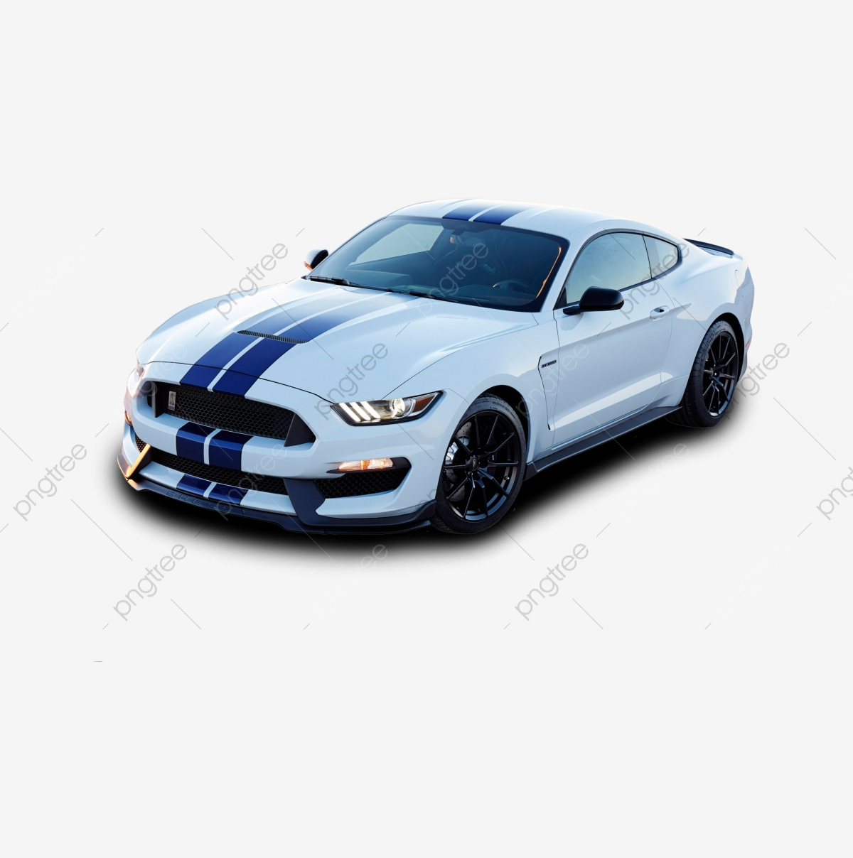White And Blue Ford Mustang Png, Car, Transportation, Png PNG.