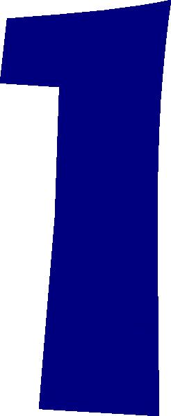 Blue number 1 clip art.