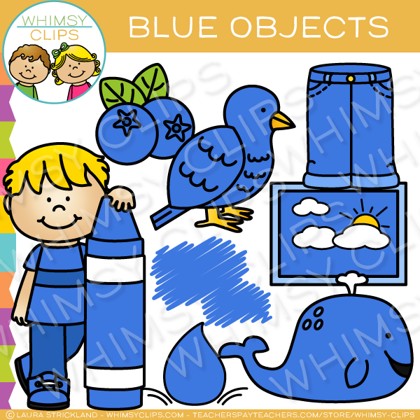 Blue Color Objects Clip Art.