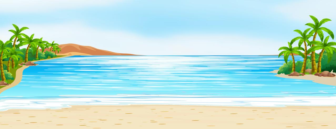 Scene with blue ocean and white sand.