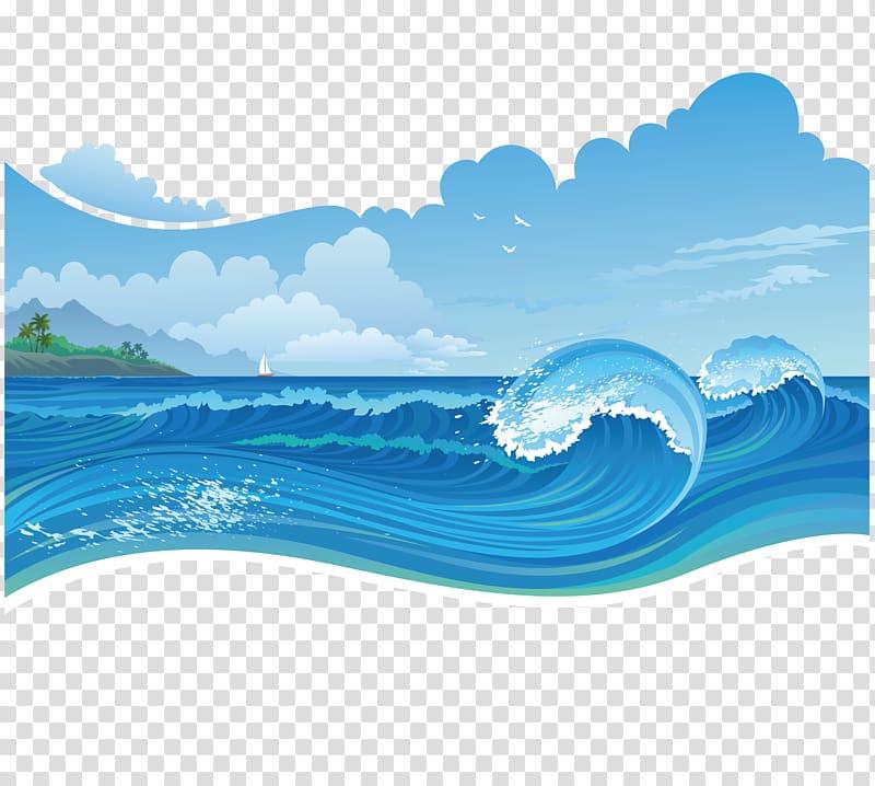 Blue waves under blue skies illustration, Storm Sea, blue.
