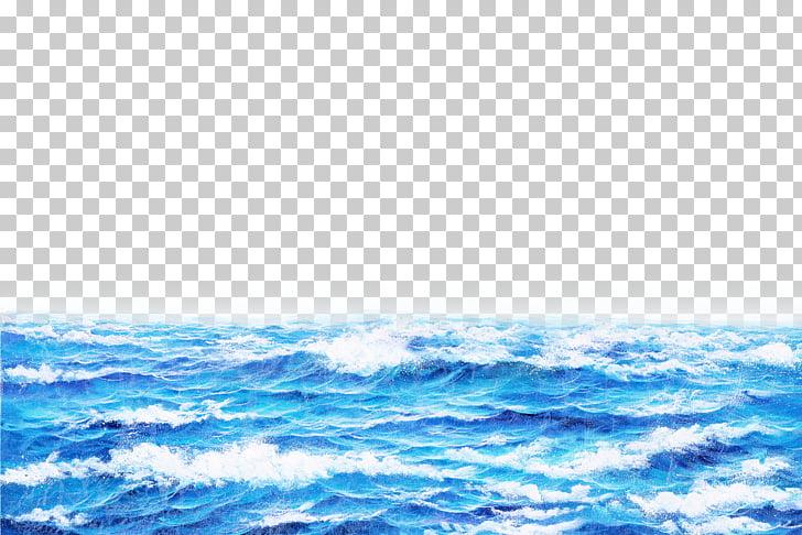 Oil painting Computer file, Sea, blue ocean waves PNG.
