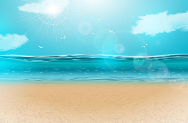 Vector blue ocean landscape background design with cloudy.