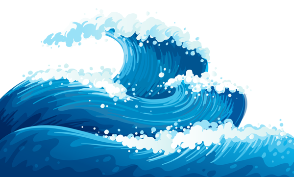 Blue Sea Waves Ground Clipart Picture.