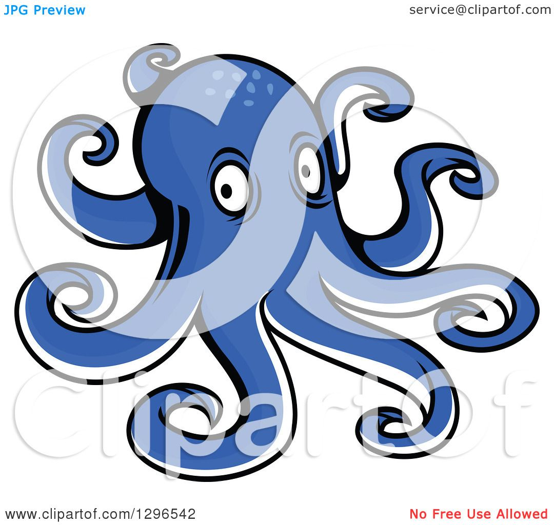 Clipart of a Cartoon Blue Octopus.