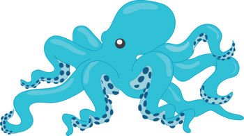 Clipart Illustration of a Large Octopus with Blue Skin.