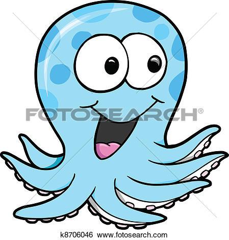 Clip Art of Silly Blue Octopus Vector k8706046.