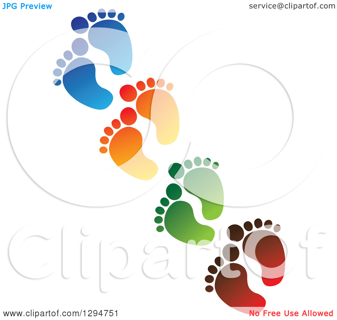 Clipart of a Diagonal Line of Blue, Orange, Green and Red Baby.