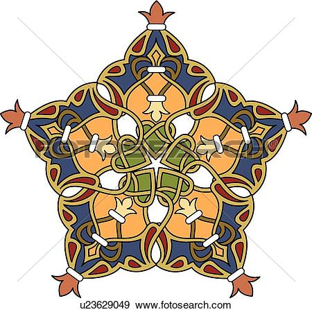 Clip Art of Blue, orange, red and gold interlaced Arabesque Design.