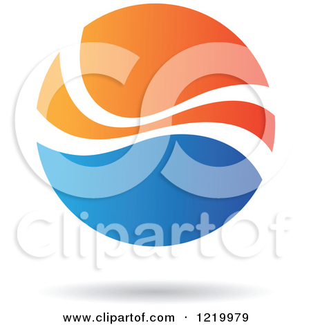 Clipart of a Blue and Orange Sphere.