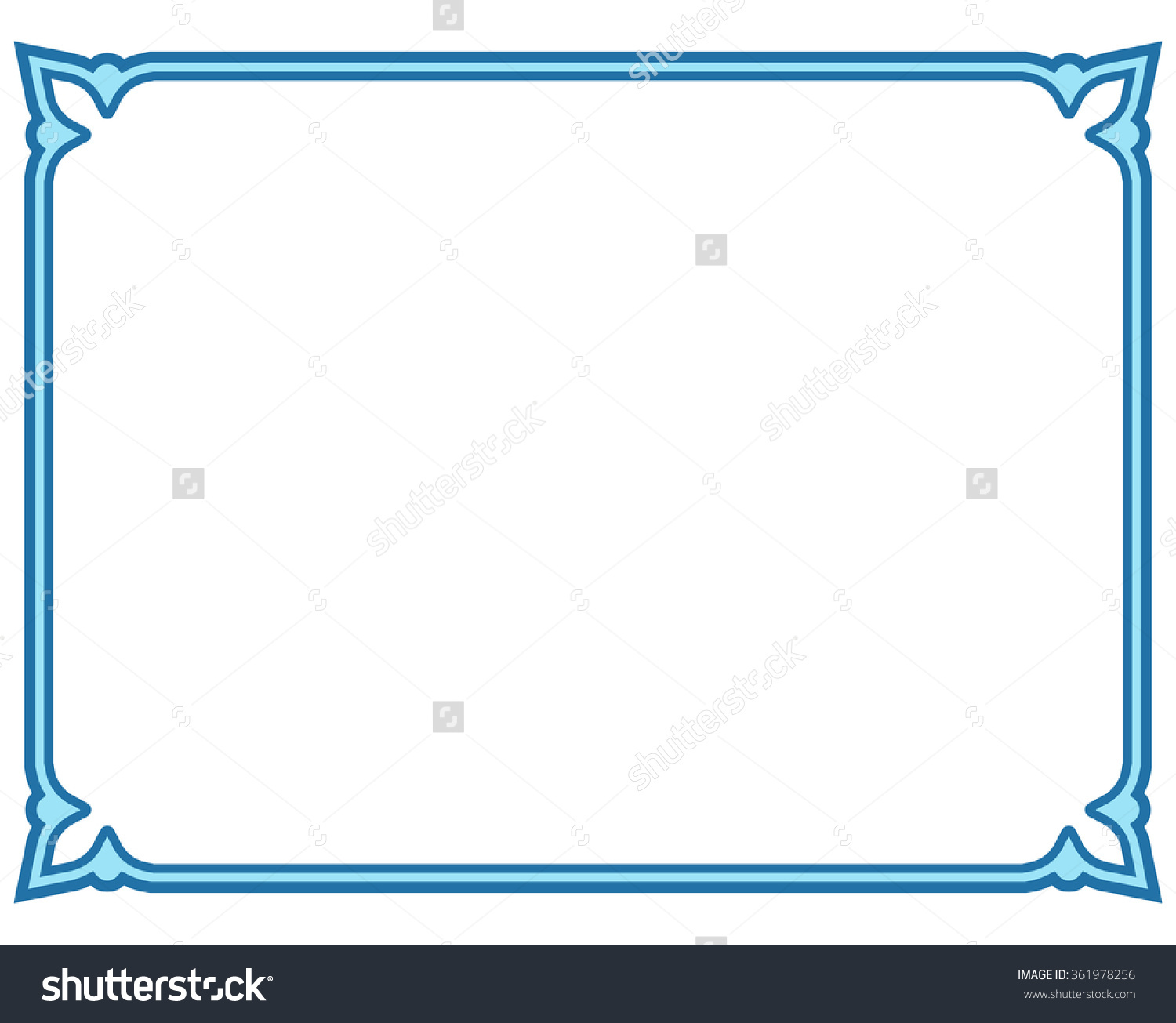 Blue Border Frame Deco Vector Label Stock Vector 361978256.