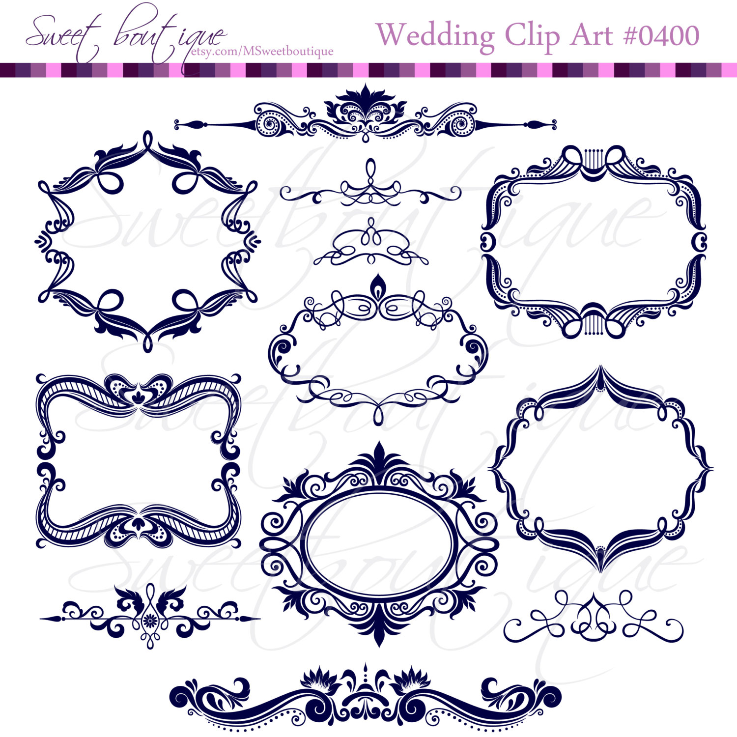 NAVY BLUE Digital Frames Scrapbook Border Clipart Ornate.