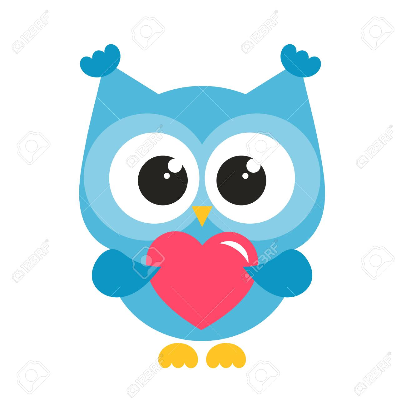 cute blue owl with heart isolated on white.