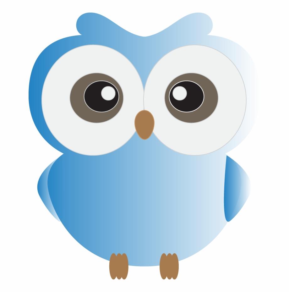 Cute Blue Owl Clipart.