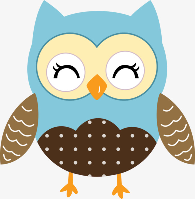 Blue Owl Bi Yanjing Clipart Hand Painted PNG Image And Glamorous.