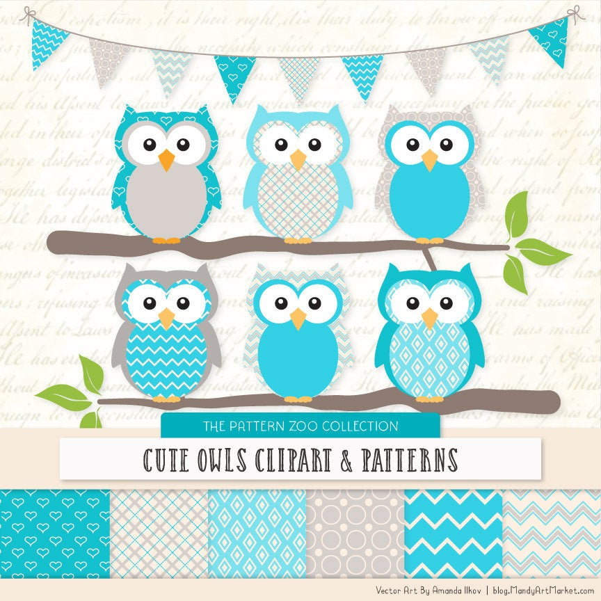 Patterned Tropical Blue Owls Clipart and Digital Papers.