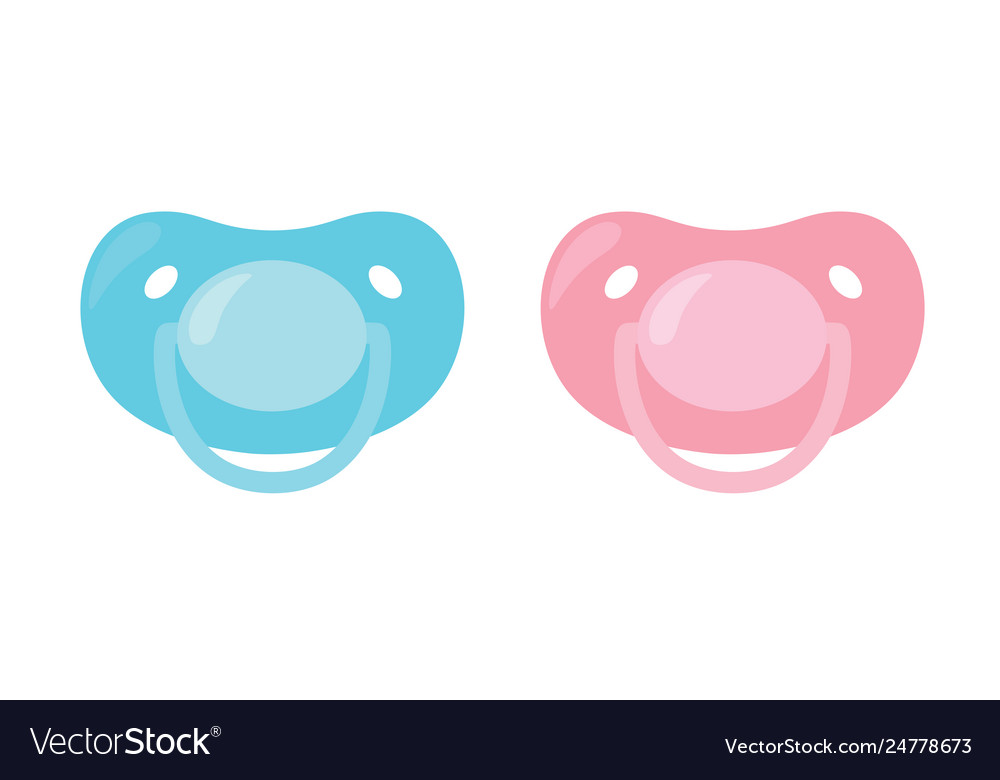 Child pacifier banipple set blue and pink.