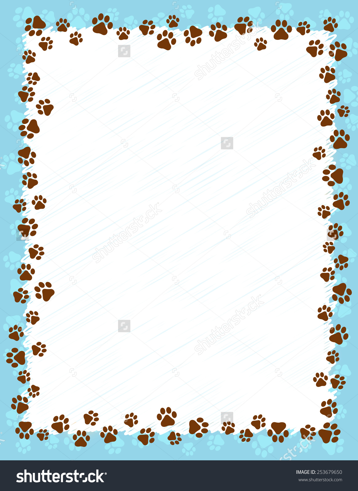 Dog Paw Prints Border Frame On Stock Vector 253679650.