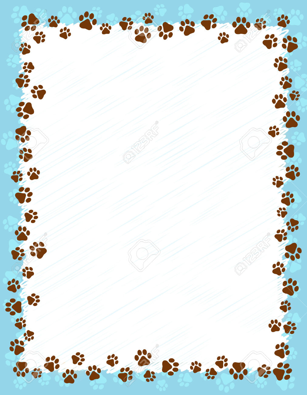 Dog Paw Prints Border / Frame On Light Blue Grunge Background.