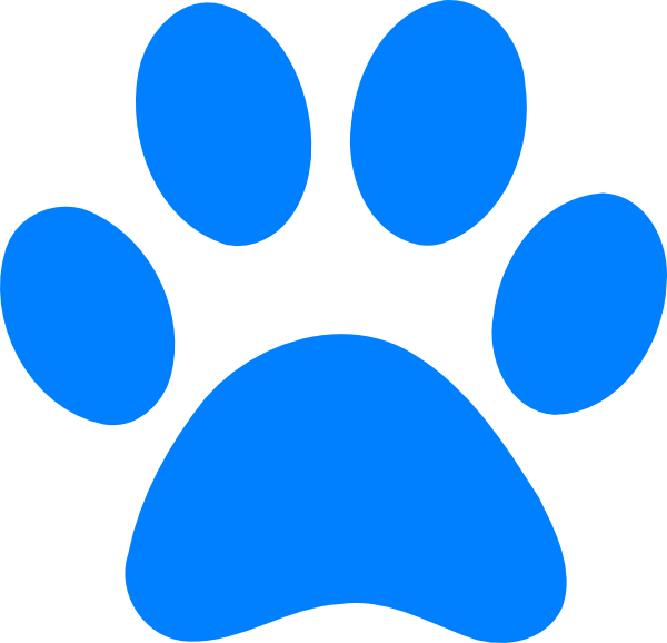 Blue Pawprint At Clkercom Vector Online Royalty clipart free.