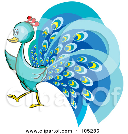 Clipart Illustration of a Blue Peacock With Its Feathers Fanned by.