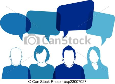 Vector Illustration of Blue people speaking csp23007027.