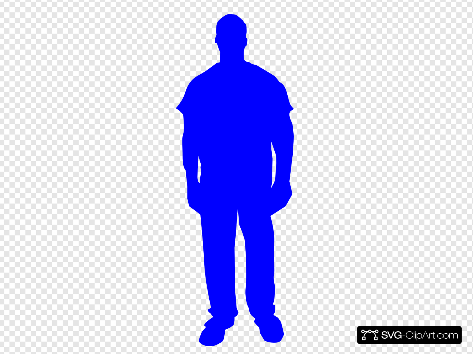 Blue Person Outline Clip art, Icon and SVG.