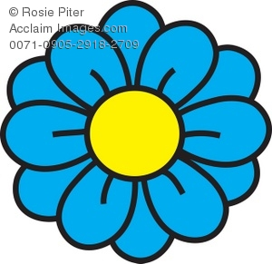 Clipart Illustration of a Flower with Blue Petals.