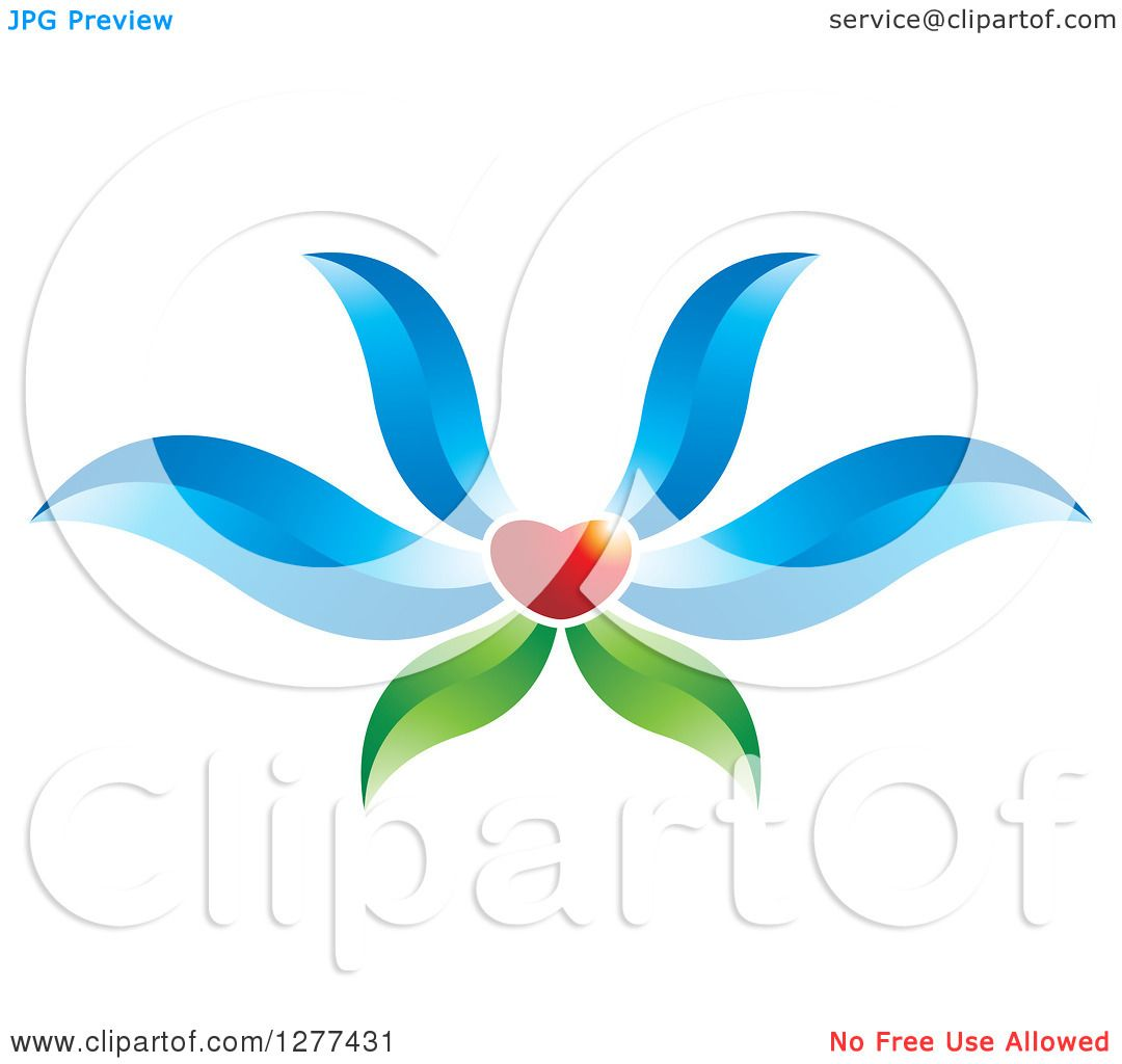 Clipart of a Red Heart Flower with Blue Petals and Green Leaves.