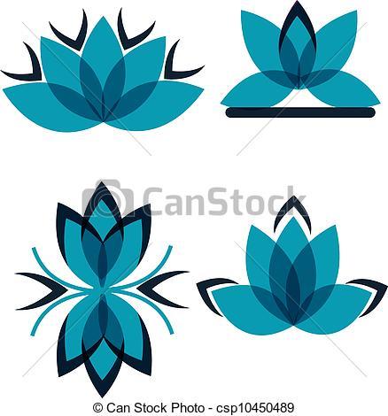 Vector of Four symbols from the blue petals csp10450489.