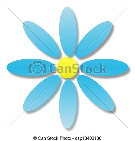 Drawings of large flower with blue petals on a white background.