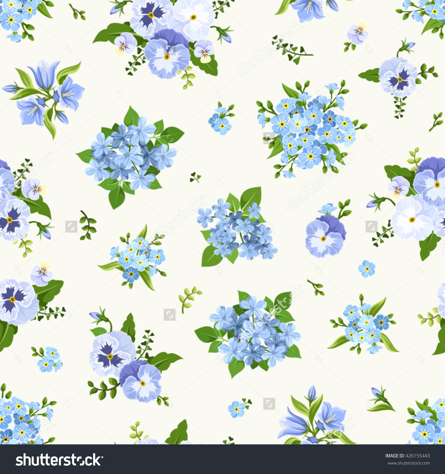 Vector Seamless Pattern With Blue Pansies, Bluebells, Plumbago And.