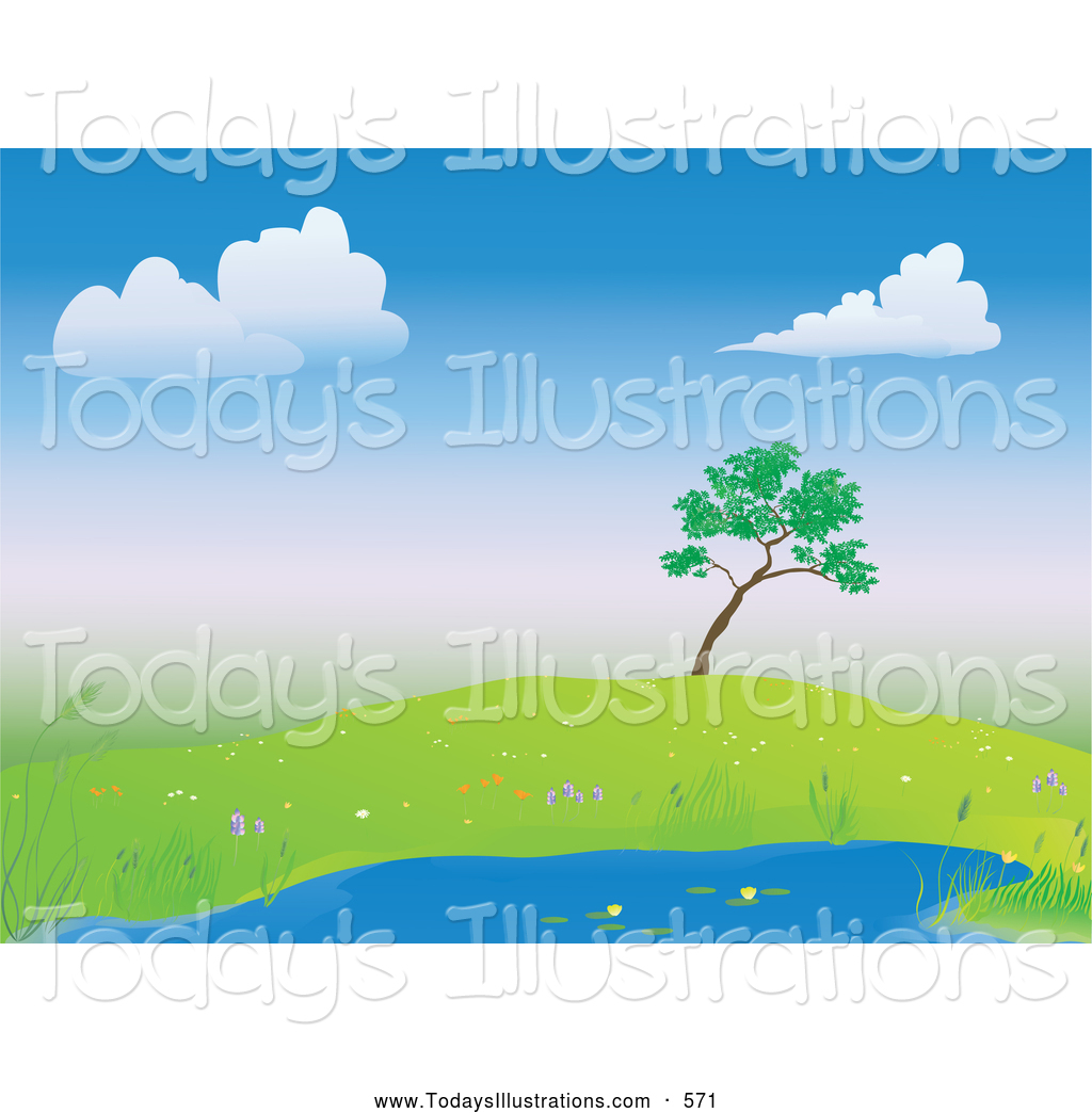 Clipart of a Lone Tree on a Hill over a Calm Blue Pond Surrounded.