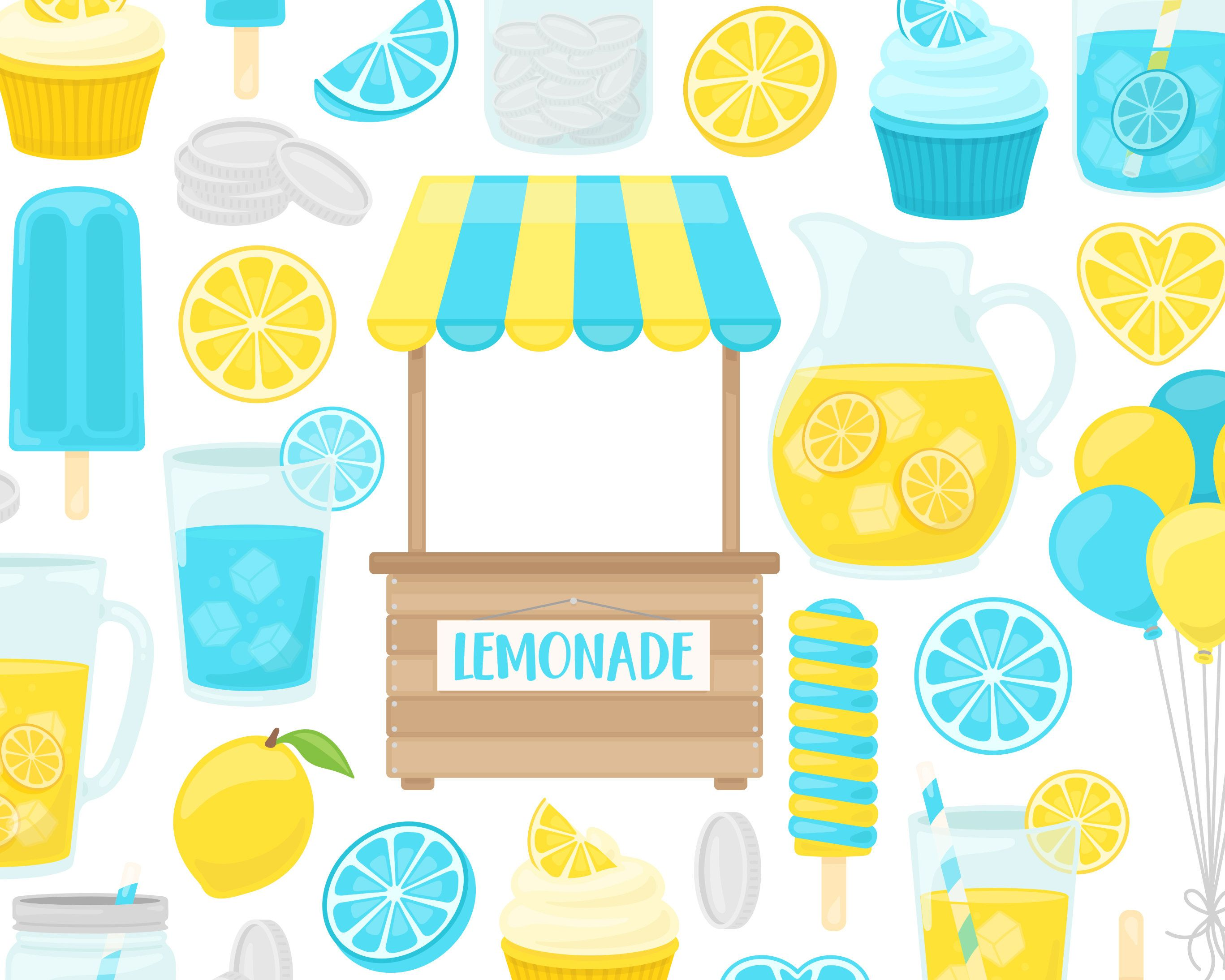 Blue Lemonade Stand Clipart, Lemon Clip Art, Summer Clipart.