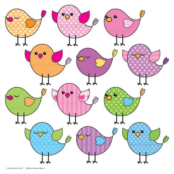 Birds Digital Clipart COMMERCIAL USE Download Bird Pink Blue.