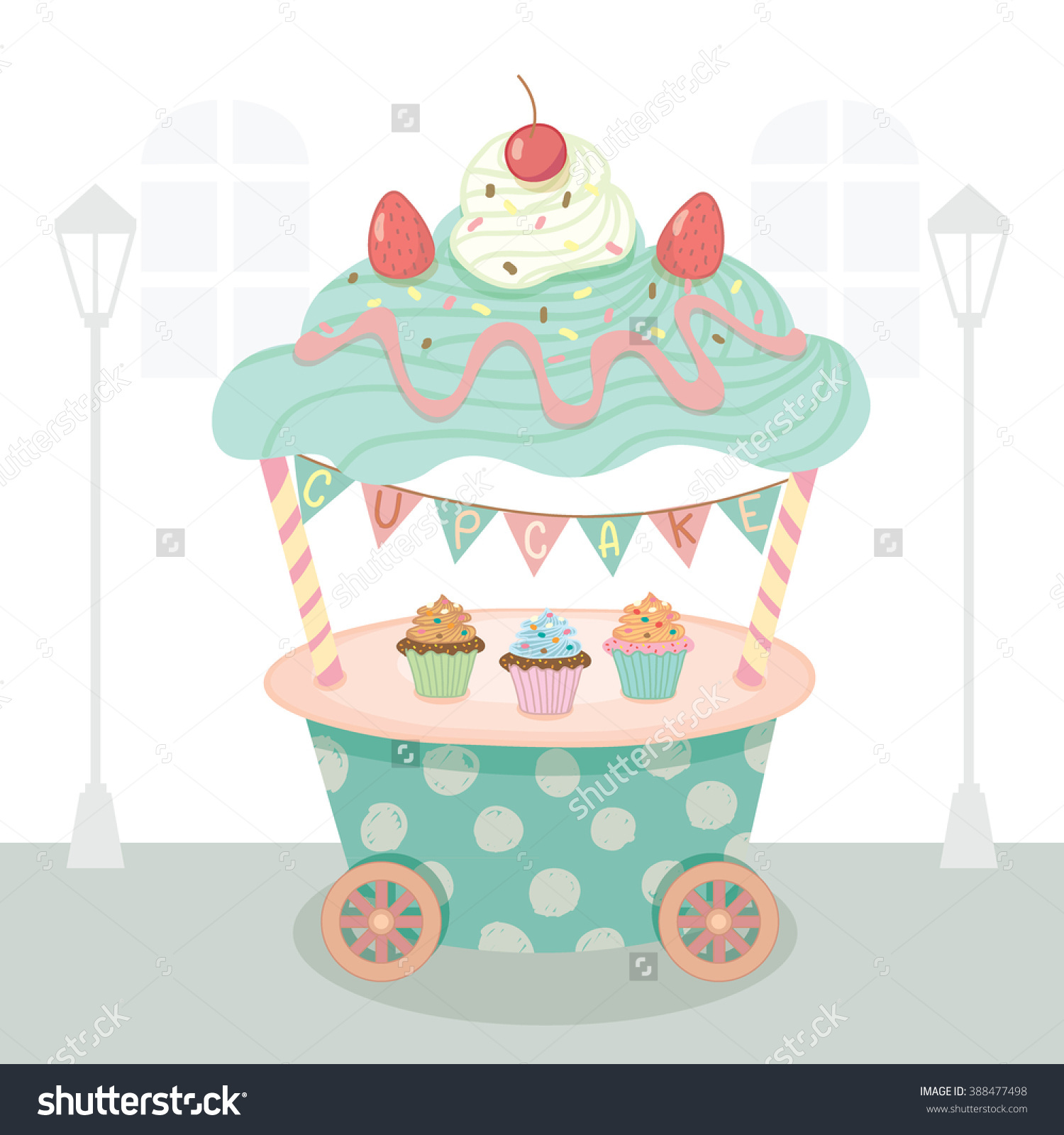 Vector Cupcake Push Cart On Street Background.Pastel Color On Blue.