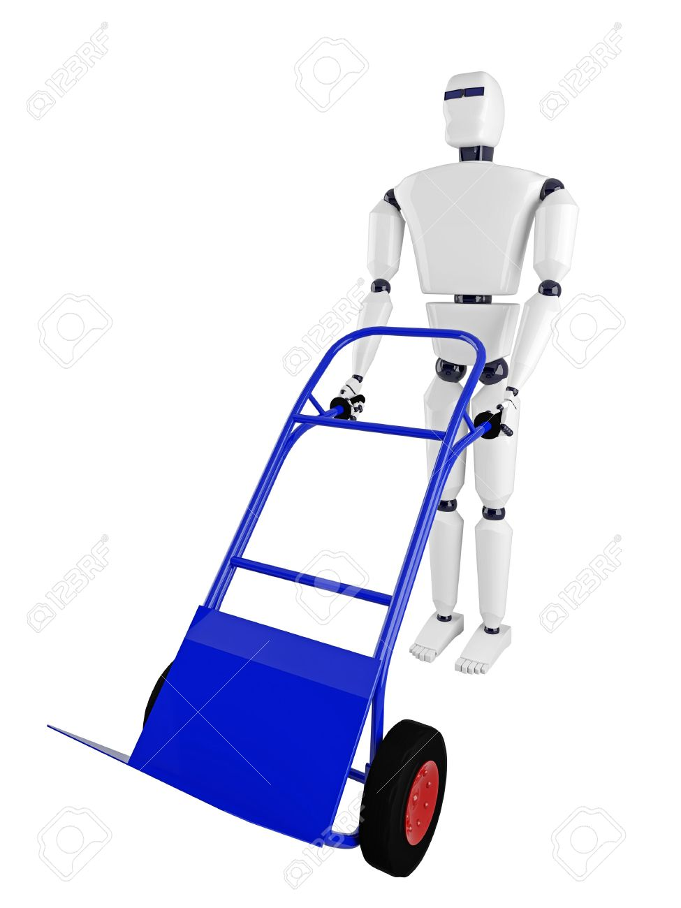 The Robot And The Blue Pushcart On A White Background Stock Photo.