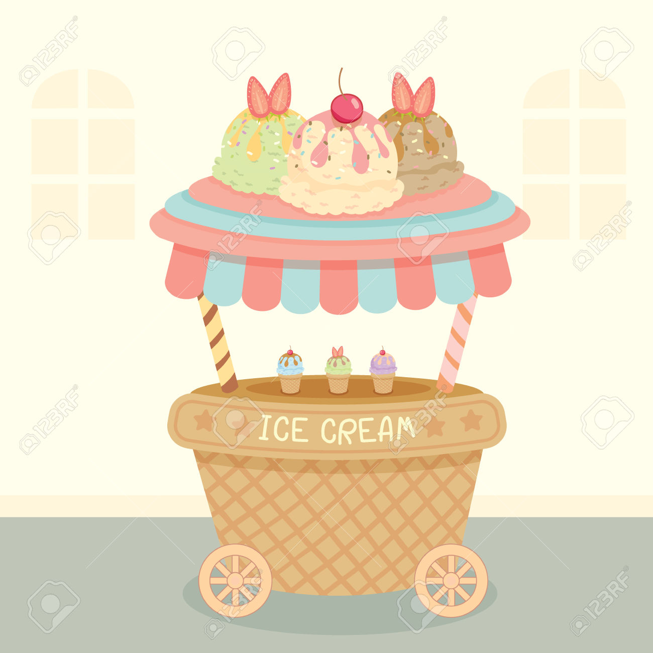 Vector Ice Cream Push Cart On Street Background.Pastel Color.