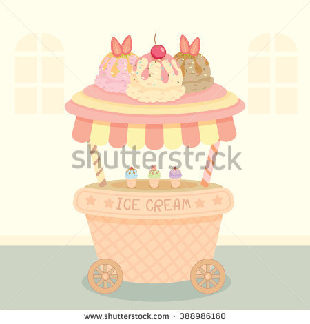 Vector Pink Cupcake Push Cart On Stock Vector 390270784.