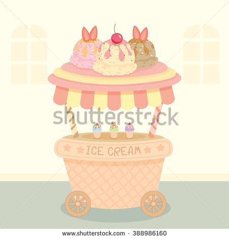 Vector Pink Cupcake Push Cart On Stock Vector 390270784.
