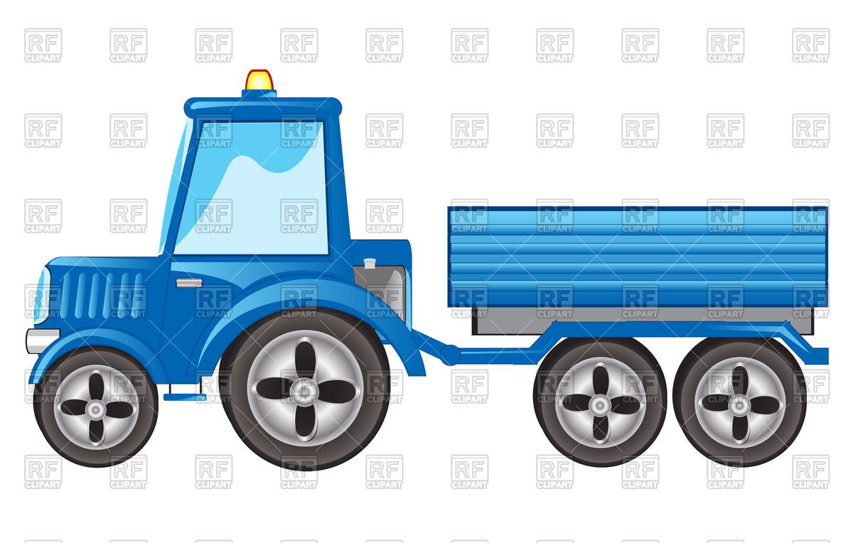 Blue tractor with pushcart Vector Image #93892.