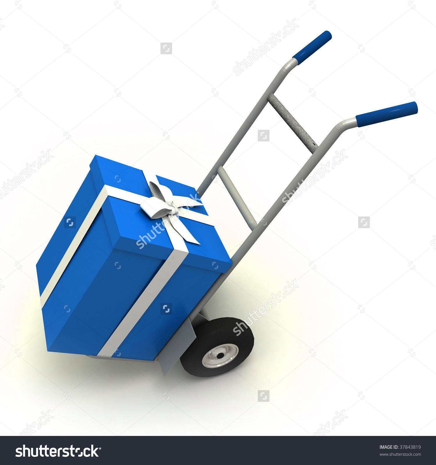 Big Blue Gift Box Push Cart Stock Illustration 37843819.